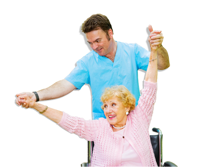 caregiver assisting elderly senior to exercise