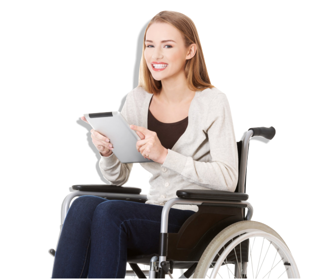 Woman in a wheelchair while holding a tablet