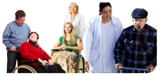 caregivers assisting the patients collage